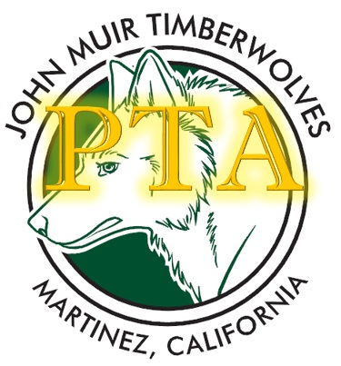 Image of a PTA logo that says John Muir Timberwolves Martinez, CALIFORNIA