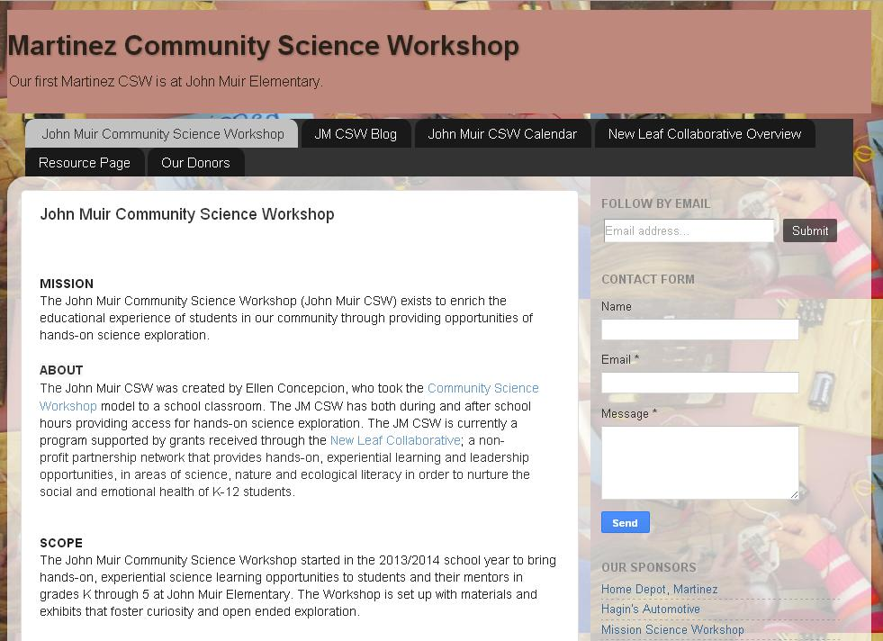 Image displayed of the Martinez Community Science Workshop.