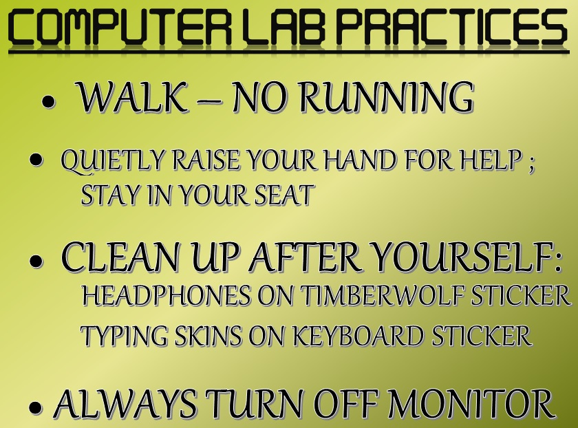 Image that shows Computer LAB Practices  and Rules.