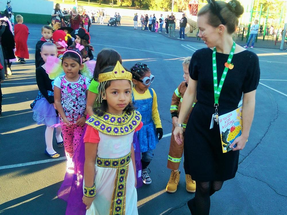 Students from Ms. Water's class at the annual JME Halloween Costume Parade!