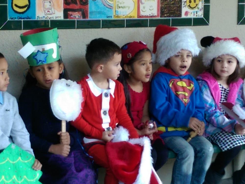Kindergarten performers pose for photos following the 2015 Kindergarten Holiday  Concert.