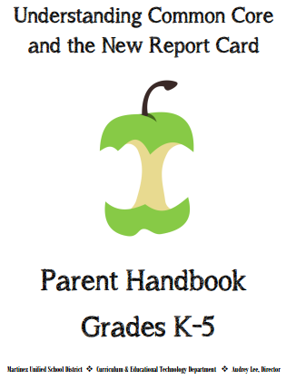 Image of a green apple that is almost completely eaten - It says at the bottom of the image  Parent Handbook Grades K-5